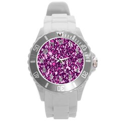 Chic Camouflage Colorful Background Round Plastic Sport Watch (l) by Simbadda