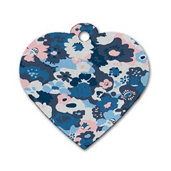 Fabric Wildflower Bluebird Dog Tag Heart (one Side) by Simbadda