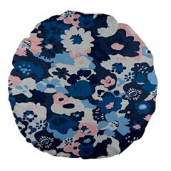 Fabric Wildflower Bluebird Large 18  Premium Flano Round Cushions by Simbadda