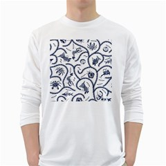 Fish Pattern White Long Sleeve T Shirts