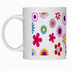 Colorful Floral Flowers Pattern White Mugs by Simbadda