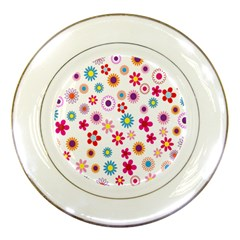 Colorful Floral Flowers Pattern Porcelain Plates by Simbadda