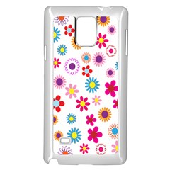 Colorful Floral Flowers Pattern Samsung Galaxy Note 4 Case (white)