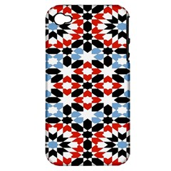 Morrocan Fez Pattern Arabic Geometrical Apple Iphone 4/4s Hardshell Case (pc+silicone)