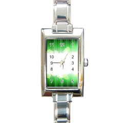 Green Floral Stripe Background Rectangle Italian Charm Watch