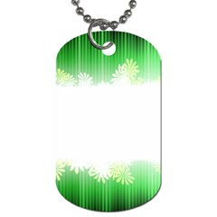 Green Floral Stripe Background Dog Tag (two Sides) by Simbadda