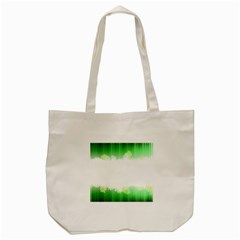 Green Floral Stripe Background Tote Bag (cream)