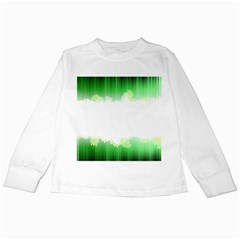 Green Floral Stripe Background Kids Long Sleeve T Shirts