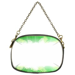 Green Floral Stripe Background Chain Purses (two Sides)