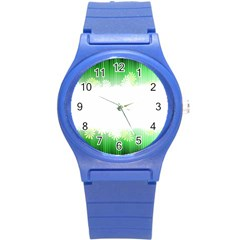 Green Floral Stripe Background Round Plastic Sport Watch (s) by Simbadda