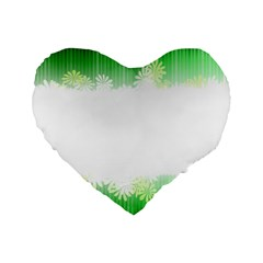 Green Floral Stripe Background Standard 16  Premium Heart Shape Cushions