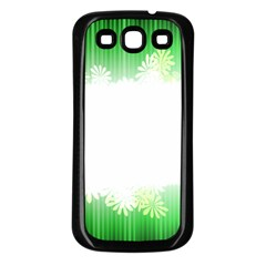Green Floral Stripe Background Samsung Galaxy S3 Back Case (black)
