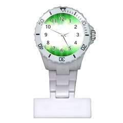 Green Floral Stripe Background Plastic Nurses Watch by Simbadda