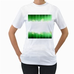 Green Floral Stripe Background Women s T Shirt (white)  by Simbadda