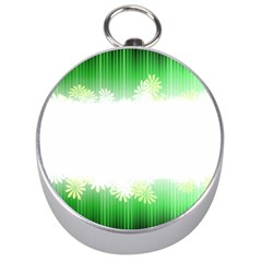 Green Floral Stripe Background Silver Compasses by Simbadda