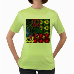 Patchwork Collage Women s Green T Shirt