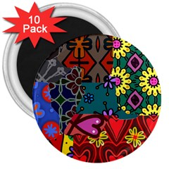 Patchwork Collage 3  Magnets (10 Pack)