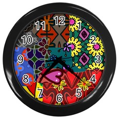 Patchwork Collage Wall Clocks (black)