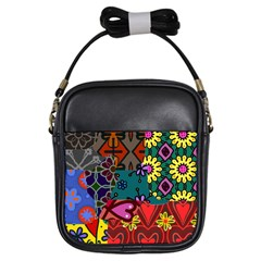 Patchwork Collage Girls Sling Bags by Simbadda