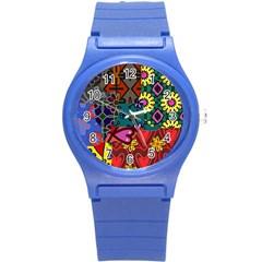Patchwork Collage Round Plastic Sport Watch (s)