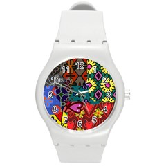 Patchwork Collage Round Plastic Sport Watch (m)