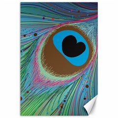 Peacock Feather Lines Background Canvas 12  X 18