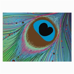 Peacock Feather Lines Background Large Glasses Cloth