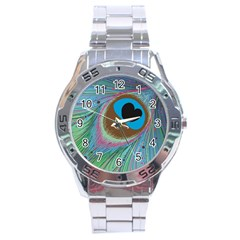 Peacock Feather Lines Background Stainless Steel Analogue Watch by Simbadda