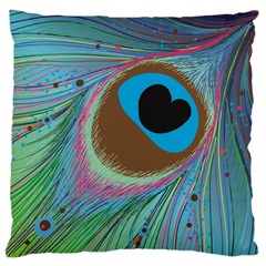 Peacock Feather Lines Background Standard Flano Cushion Case (one Side) by Simbadda