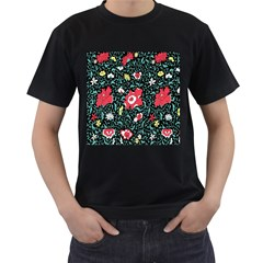 Vintage Floral Wallpaper Background Men s T Shirt (black) (two Sided) by Simbadda