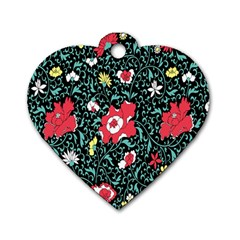 Vintage Floral Wallpaper Background Dog Tag Heart (two Sides) by Simbadda