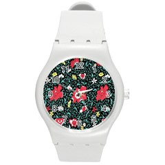 Vintage Floral Wallpaper Background Round Plastic Sport Watch (m) by Simbadda