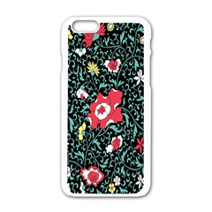 Vintage Floral Wallpaper Background Apple Iphone 6/6s White Enamel Case by Simbadda