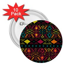 Traditional Art Ethnic Pattern 2 25  Buttons (10 Pack)