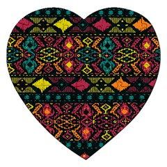 Traditional Art Ethnic Pattern Jigsaw Puzzle (heart) by Simbadda
