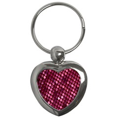 Red Circular Pattern Background Key Chains (heart)  by Simbadda