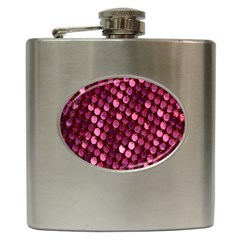 Red Circular Pattern Background Hip Flask (6 Oz) by Simbadda