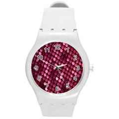 Red Circular Pattern Background Round Plastic Sport Watch (m) by Simbadda