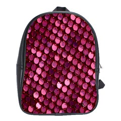 Red Circular Pattern Background School Bags (XL)  by Simbadda