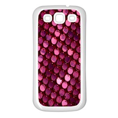 Red Circular Pattern Background Samsung Galaxy S3 Back Case (white) by Simbadda
