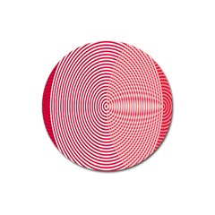 Circle Line Red Pink White Wave Magnet 3  (round) by Alisyart