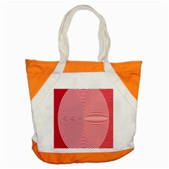 Circle Line Red Pink White Wave Accent Tote Bag by Alisyart