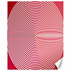 Circle Line Red Pink White Wave Canvas 16  X 20   by Alisyart