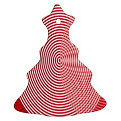 Circle Line Red Pink White Wave Christmas Tree Ornament (two Sides) by Alisyart