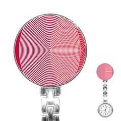 Circle Line Red Pink White Wave Stainless Steel Nurses Watch by Alisyart