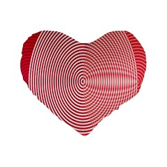 Circle Line Red Pink White Wave Standard 16  Premium Flano Heart Shape Cushions by Alisyart