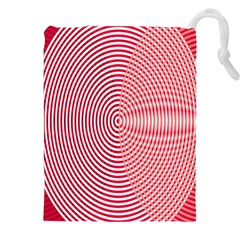 Circle Line Red Pink White Wave Drawstring Pouches (xxl)
