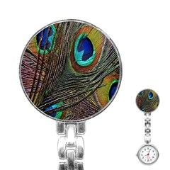 Peacock Feathers Stainless Steel Nurses Watch by Simbadda