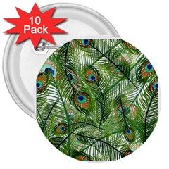 Peacock Feathers Pattern 3  Buttons (10 Pack)  by Simbadda