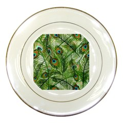 Peacock Feathers Pattern Porcelain Plates by Simbadda